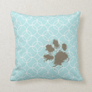 Baby Blue Circles; Funny Pawprint Throw Pillows