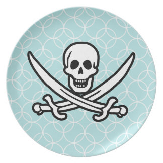 Baby Blue Circles Jolly Roger; Pirate Plate