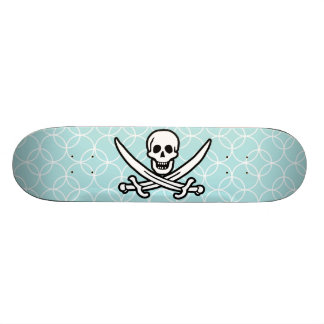 Baby Blue Circles Jolly Roger Pirate Skateboards