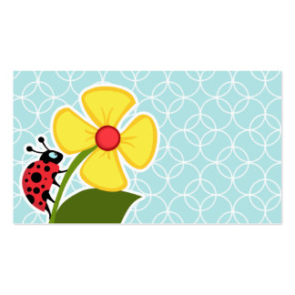 Baby Blue Circles Ladybug Business Card Template