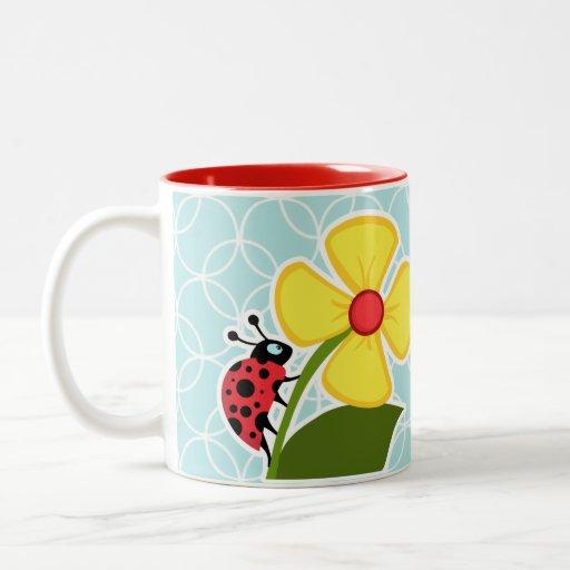 Baby Blue Circles; Ladybug Coffee Mugs