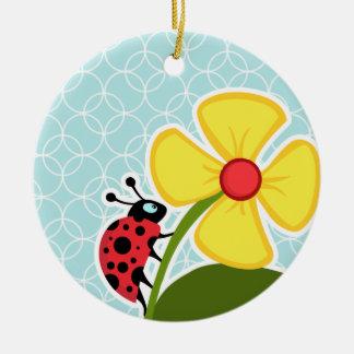 Baby Blue Circles; Ladybug Double-Sided Ceramic Round Christmas Ornament