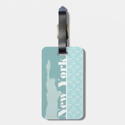 Baby Blue Circles; New York Luggage Tags
