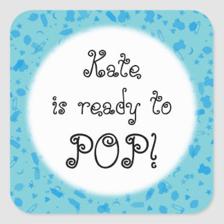 Baby Blue Confetti Ready to POP! Baby Shower Square Sticker