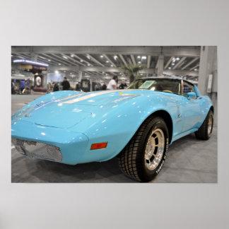 Baby Blue Corvette Poster