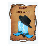 baby blue cowboy boots western mommy baby shower personalized announcements