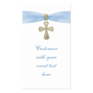 Baby Blue Cross Bomboniere Tags Business Card
