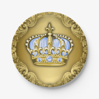 Baby Blue Crown Royal Baby Shower 7 Inch Paper Plate
