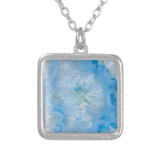 Baby Blue Crystal Agate Silver Plated Necklace