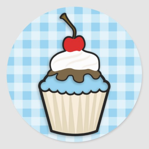 Baby Blue Cupcake Stickers