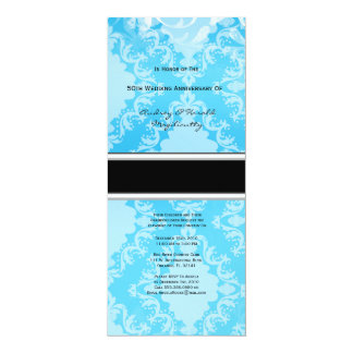"Baby Blue Damask Anniversary Party Invitation 4"" X 9.25"" Invitation Card"