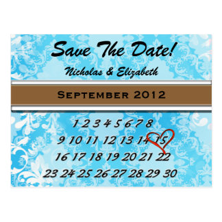 Baby Blue Damask Calandar Custom Save the Date Postcard