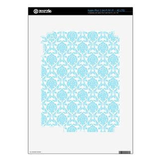 Baby Blue Damask Pattern iPad Skin