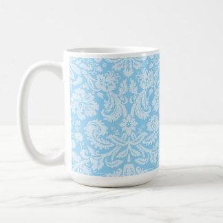 Baby Blue Damask Pattern Classic White Coffee Mug