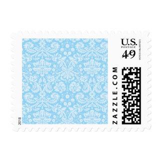 Baby Blue Damask Pattern Postage Stamps