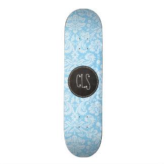Baby Blue Damask Pattern; Vintage Chalkboard look Skateboard Decks