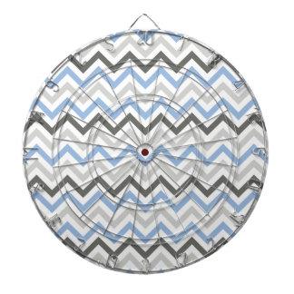 Baby Blue, Dark Gray, Light Gray, & White Chevron Dartboard With Darts