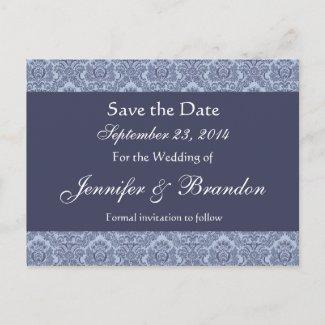 Baby Blue & Denim Damask Save The Date Postcard postcard