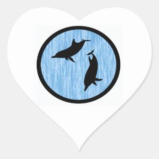 BABY BLUE DOLPIHINS HEART STICKER