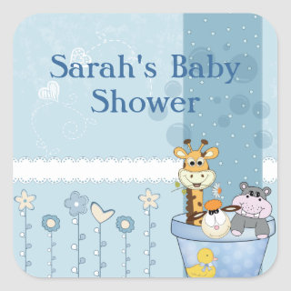 Baby Blue Dots Animals Flowers Baby Shower