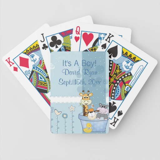 Baby Blue Dots Animals Flowers Baby Shower Bicycle Playing Cards