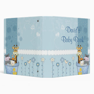 Baby Blue Dots Animals Flowers Baby Shower 3 Ring Binders