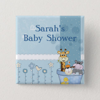 Baby Blue Dots Animals Flowers Baby Shower Button