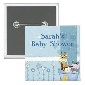 Baby Blue Dots Animals Flowers Baby Shower 2 Inch Square Button