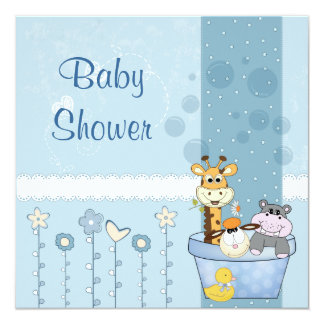Baby Blue Dots Animals Flowers Baby Shower Card