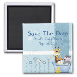 Baby Blue Dots Animals Flowers Baby Shower Magnet