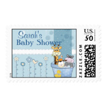 Baby Blue Dots Animals Flowers Baby Shower Postage