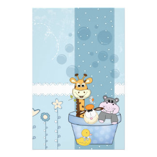 Baby Blue Dots Animals Flowers Baby Shower Stationery