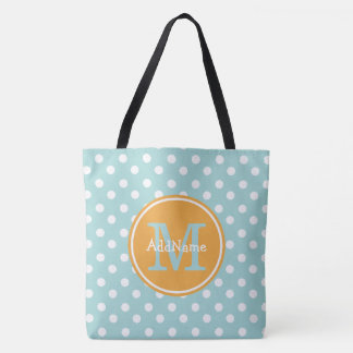 Baby Blue Dots Yellow Monogram & Personalized Name Tote Bag