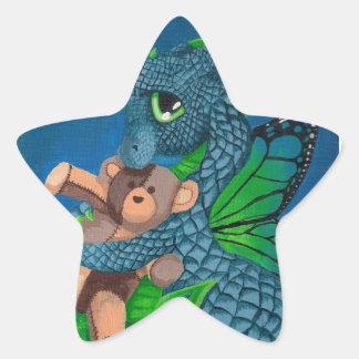 baby blue dragon fairy butterfly teddy bear night star sticker
