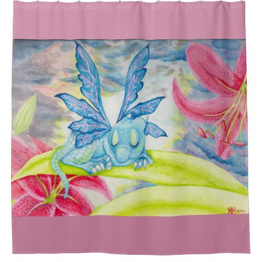baby blue dragon fairy faery shower curtain zazzle
