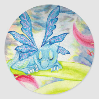 baby blue dragon fairy flower lily storm lightning classic round sticker