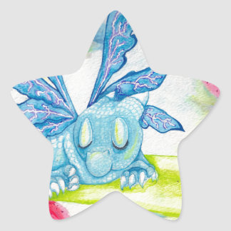 baby blue dragon fairy flower lily storm lightning star sticker