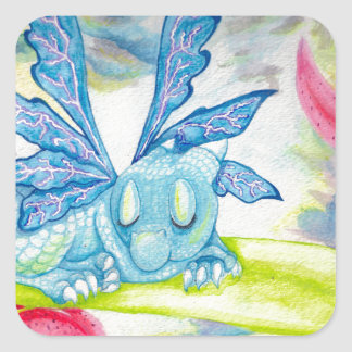 baby blue dragon fairy flower lily storm lightning square sticker