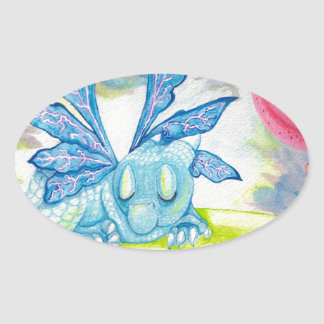 baby blue dragon fairy flower lily storm lightning oval sticker