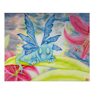 Baby Blue Dragon Fairy lily storm poster