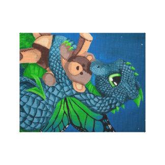 baby blue dragon fairy teddy bear night bedtime canvas print