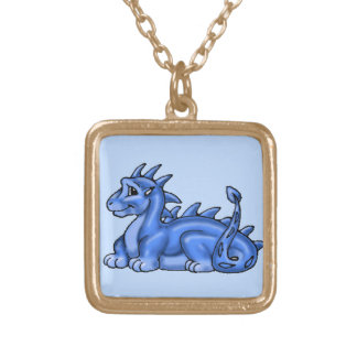 Baby Blue Dragon Gold Plated Necklace