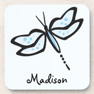 Baby Blue Dragonfly Beverage Coaster