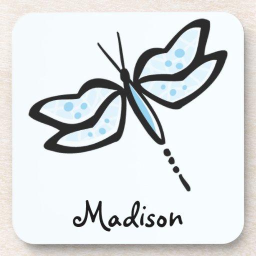 Baby Blue Dragonfly Beverage Coaster