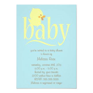 Baby Blue Duckling Baby Shower Invitations