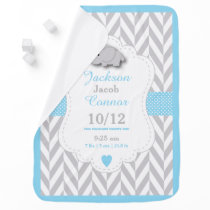 Baby Blue Elephant Birth Keepsake Design  🐘 Baby Blanket