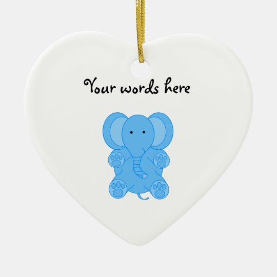 Baby blue elephant ceramic ornament