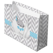 Baby Blue Elephant Design - Baby Boy Shower Large Gift Bag