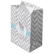 Baby Blue Elephant Design - Baby Boy Shower Medium Gift Bag