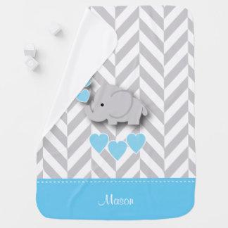 Baby Blue Elephant Design Stroller Blanket